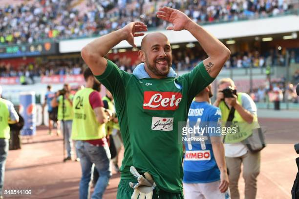 Pepe Reina of SSC Napoli during the Serie A TIM match between SSC Napoli and Benevento Calcio at Stadio San Paolo Naples Italy on 17 September 2017