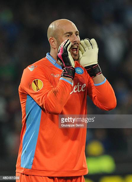 Pepe Reina of SSC Napoli during the UEFA Europa League Round of 16 match between SSC Napoli and FC Porto at Stadio San Paolo on March 20 2014 in...