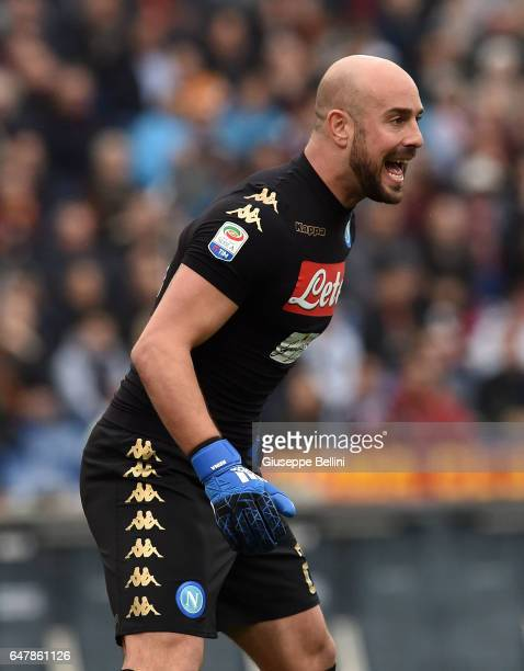 Pepe Reina of SSC Napoli in action during the Serie A match between AS Roma and SSC Napoli at Stadio Olimpico on March 4 2017 in Rome Italy
