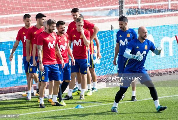Pepe Reinaof Spain Sergio Ramosof Spain David Villaof Spain Gerard Deulofeuof Spain Álvaro Morataof Spain Marco Asensio and Suso looks on during a...