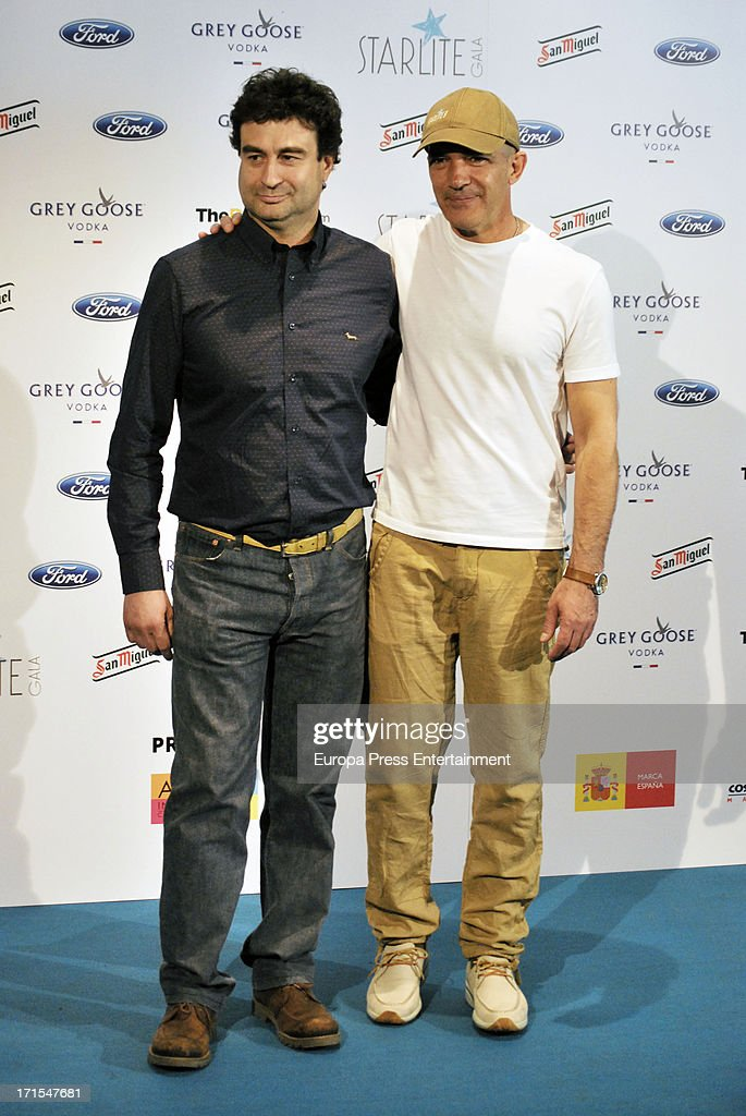Pepe Rodriguez and <a gi-track='captionPersonalityLinkClicked' href=/galleries/search?phrase=Antonio+Banderas&family=editorial&specificpeople=171176 ng-click='$event.stopPropagation()'>Antonio Banderas</a> present 'Starlite Gala' 2013 on June 25, 2013 in Madrid, Spain.