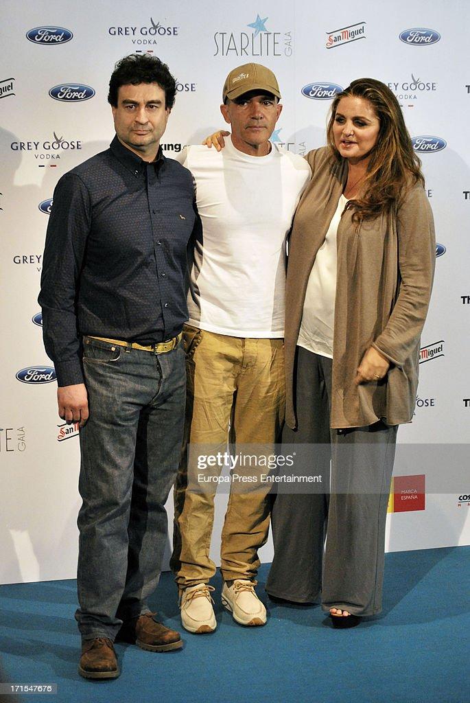 Pepe Rodriguez, Antonio Banderas and Sandra Garcia-Sanjuan present 'Starlite Gala' 2013 on June 25, 2013 in Madrid, Spain.