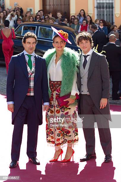 Pepe Rodriguez Rey Samantha VallejoNagera and Jordi Cruz attend the wedding of Cayetano Rivera and Eva Gonzalez at Mairena del Alcor on November 6...