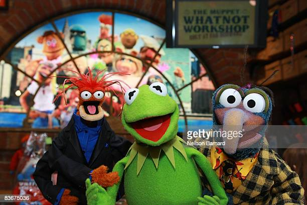 Pepe the King Prawn Kermit the Frog and Gonzo the Great appear at the Whatnot Workshop at FAO Schwarz on November 11 2008 in New York City
