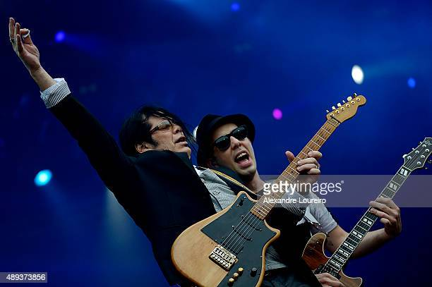 Pepeu Gomes and Pedro Baby from Baby do Brasil Pepeu Gomes performs at 2015 Rock in Rio on September 20 2015 in Rio de Janeiro Brazil