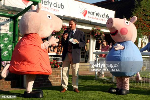 Peppa Pig and George are interviewed in the winners enclosure