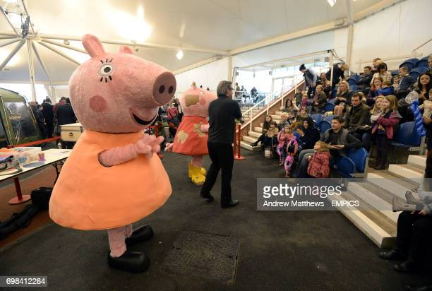 Peppa Pig and Mummy Pig in the Brightwells Sales Arena at Cheltenham Racecourse
