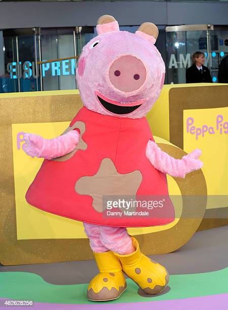 Peppa Pig attends the premeire of 'Peppa Pig The Golden Boots' at Odeon Leicester Square on February 1 2015 in London England