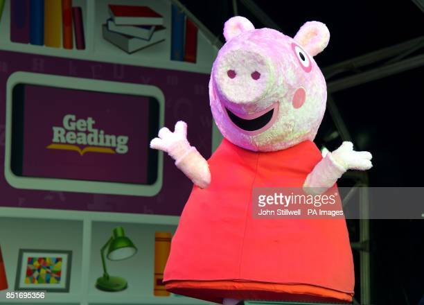 Peppa Pig on the stage of the Get Reading Festival in Trafalgar Square central London which aims to encourage people of all ages to read more