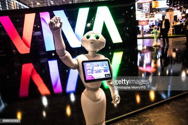 Pepper humanoid robot manufactured by SoftBank Group Corp is presented during Viva Technology at Parc des Expositions Porte de Versailles on June 16...