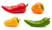 Small pepper set collection isolated over white, clipping path