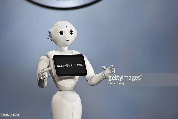 Pepper the humanoid robot manufactured by SoftBank Group Corp speaks during an event at the 2016 Consumer Electronics Show in Las Vegas Nevada US on...