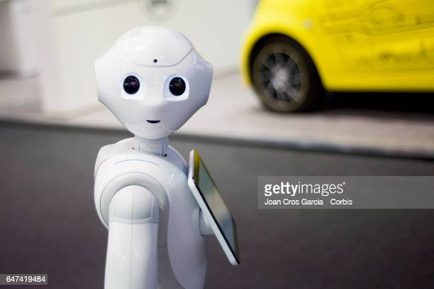 Pepper the robot from SoftBank and Aldebaran during the Mobile World Congress on March 2 2017 in Barcelona Spain