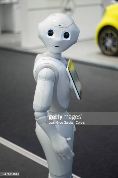 Pepper the robot from SoftBank and Aldebaran during the Mobile World Congress on March 2 2017 in Barcelona Spain 'n