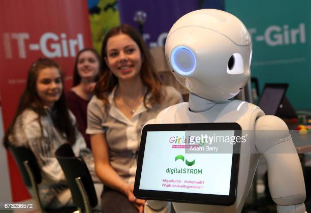 Pepper the Robot is seen at the digitalSTROM stand on Girls' Day on April 26 2017 in Berlin Germany The event is meant to encourage young women to...