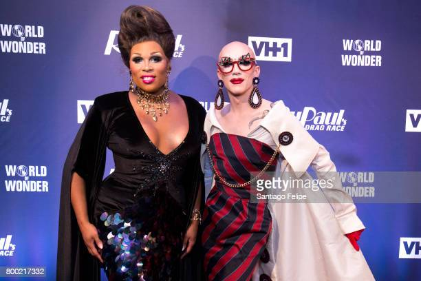 Peppermint and Sasha Velour attend the 'RuPaul's Drag Race' Season 9 Finale Viewing Party at Stage 48 on June 23 2017 in New York City