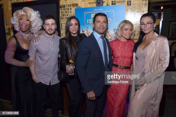 Peppermint Vinny Guadagnino Sammi Giancola Mark Consuelos Kelly Ripa and Jenni 'JWOWW' Farley attend the Logo TV Fire Island Premiere Party at Atlas...