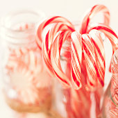 Peppermints and Candy Canes in Mason Jars