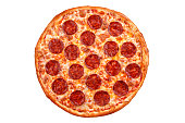 Pepperoni pizza - Italian pizza on white background, Isolated.