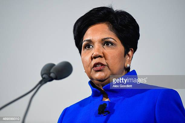 PepsiCo CEO Indra Nooyi speaks during a press conference to announce a marketing partnership between the NBA and PepsiCo on April 13 2015 at Terminal...
