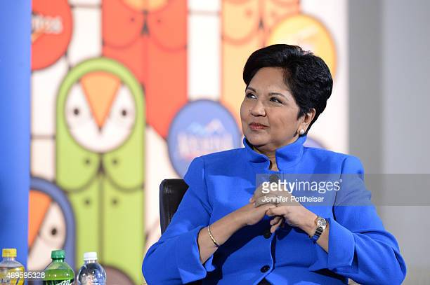 PepsiCo Chairman and CEO Indra Nooyi during a press conference to announce a new marketing partnership with PepsiCo on April 13 2015 at Terminal 23...