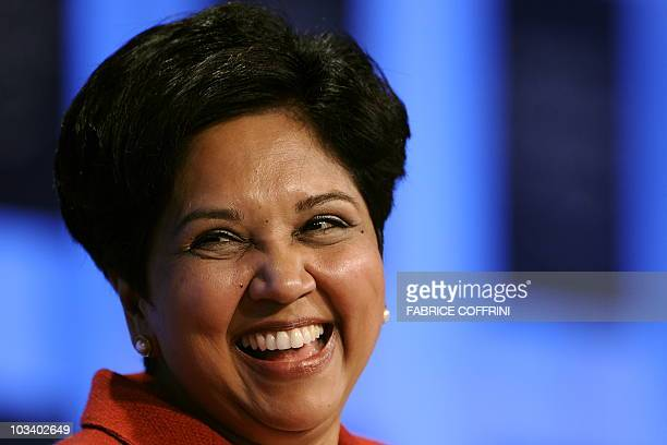 PepsiCo Chairman and CEO Indra Nooyi smiles during a session untitled 'Technology for Society' on the third day of the World Economic Forum annual...