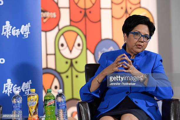 PepsiCo Chairman and CEO Indra Nooyi speaks to the media during a press conference to announce a new marketing partnership with PepsiCo on April 13...