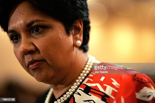 PepsiCo's chair and CEO Indra Nooyi attends the Miami Dade College Miami Leadership Roundtable September 10 2007 in Miami Florida Nooyi guides one of...