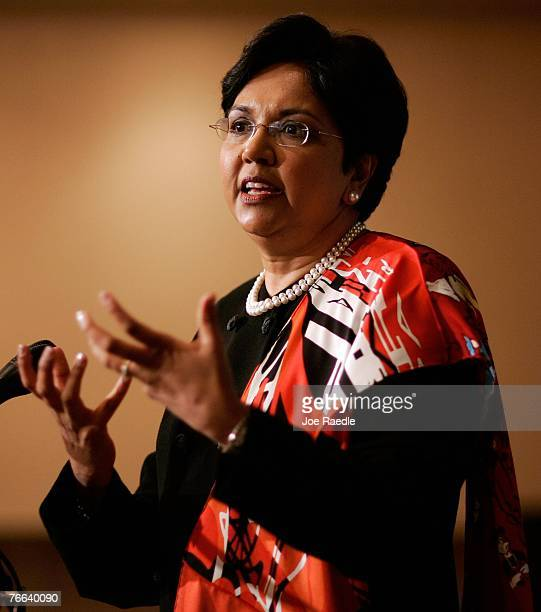 PepsiCo's chair and CEO Indra Nooyi speaks at the Miami Dade College Miami Leadership Roundtable September 10 2007 in Miami Florida Nooyi guides one...