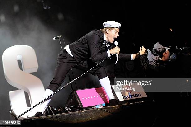 Per Almqvist of The Hives performs on stage during the fourth day of Rock am Ring on June 6 2010 in Nuerburg Germany