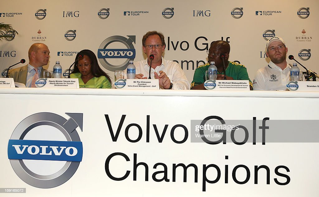 Per Ericsson, President of Volvo Event Management addresses the media for the Offical Opening press conference of the Volvo Golf Champions with defending champion, Branden Grace of South Africa at Durban Country Club on January 9, 2013 in Durban, South Africa.