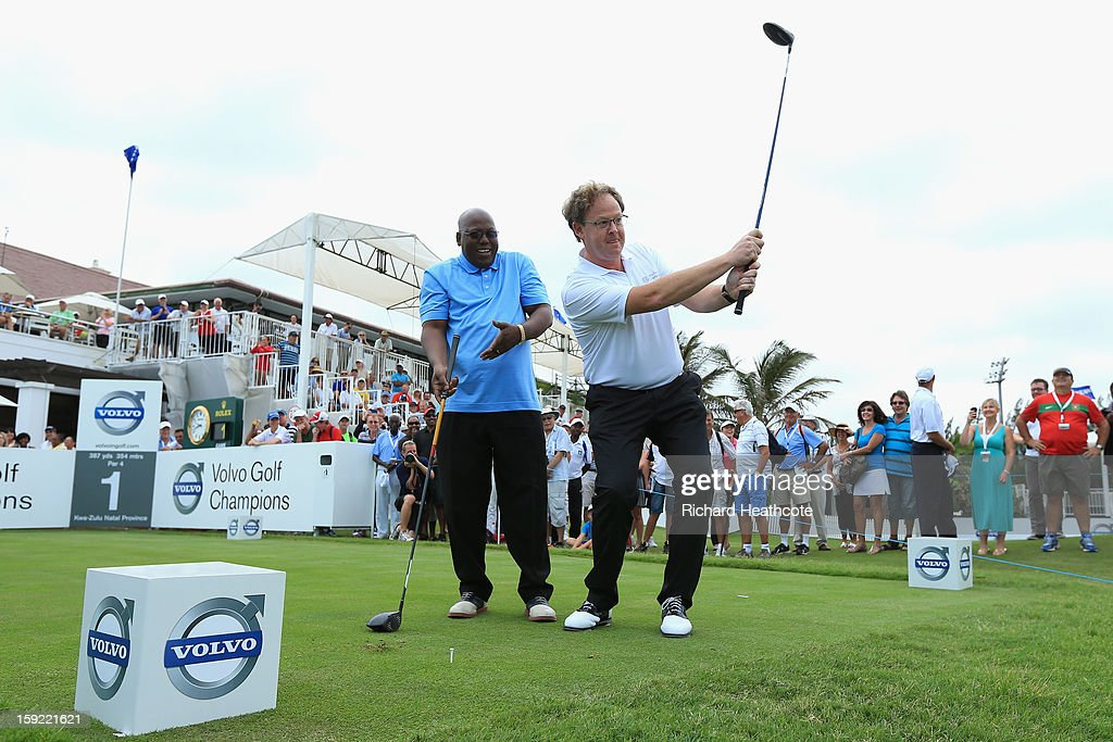 Per Ericsson, President of Volvo Event Management and Michael Mabuyakhulu, MEC for Economic Development and Tourism, KwaZulu-Natal Provincal Government hit the first tee shot during the opening ceremony for the Volvo Champions at Durban Country Club on January 10, 2013 in Durban, South Africa.