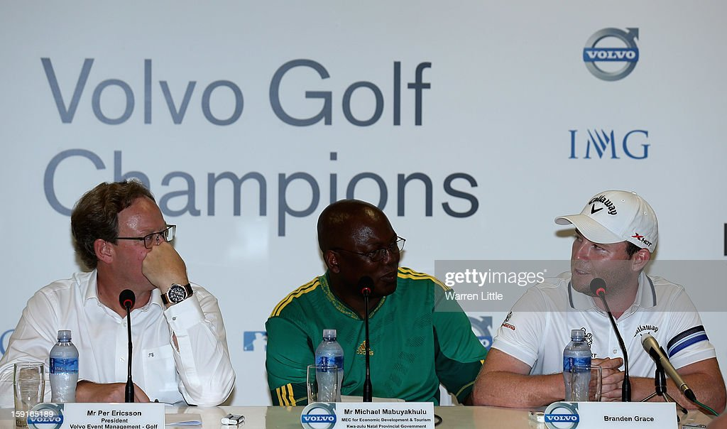 Per Ericsson, President of Volvo Event Management, Michael Mabuyakhulu, MEC for Economic Development and Tourism, KwaZulu-Natal Provincal Government and Branden Grace of South Africa address the media for the offical opening press conference of the Volvo Golf Champions with defending champion, Branden Grace of South Africa at Durban Country Club on January 9, 2013 in Durban, South Africa.