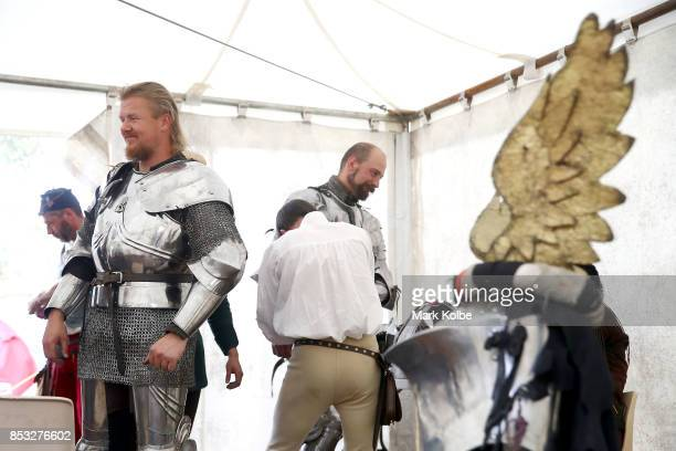 Per Estein Pr¿isR¿hjell of Sweden and Arne Koets of the Netherlands prepare in camp to compete in the World Jousting Championships on September 24...