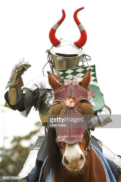 Per Estein Pr¿isR¿hjell of Sweden gestures to the crowd as he competes in the World Jousting Championships on September 24 2017 in Sydney Australia...