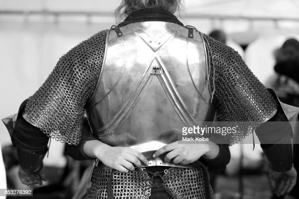 Per Estein Pr¿isR¿hjell of Sweden is helped dress in his armour as he prepares to compete in the World Jousting Championships on September 24 2017 in...