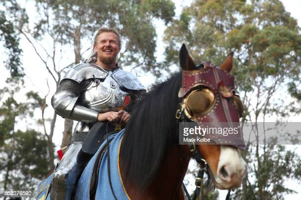 Per Estein Pr¿isR¿hjell of Sweden sits on his mount as he prepares to compete in the World Jousting Championships on September 24 2017 in Sydney...