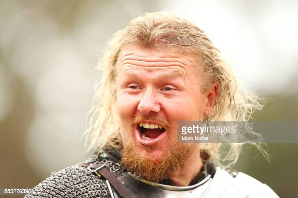 Per Estein Pr¿isR¿hjell of the Sweden shares a laugh with his squire as he competes in the World Jousting Championships on September 24 2017 in...