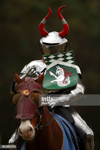 Per Estein ProisRohjell of Norway competes in the inaugural World Jousting Championship at the St Ives Medieval Faire on September 24 2017 in Sydney...