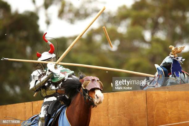 Per Estein ProisRohjell of Norway is hit as he competes in the World Jousting Championships on September 24 2017 in Sydney Australia The World...