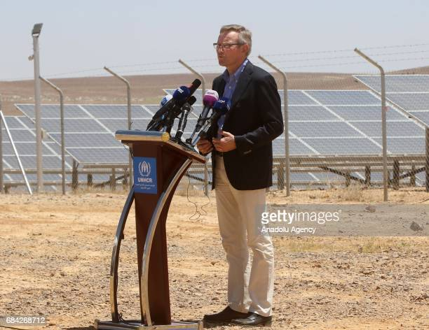 Per Heggenes CEO of the IKEA Foundation speaks during the opening ceremony of a new solar power plant project by IKEA Foundation at the Azraq refugee...