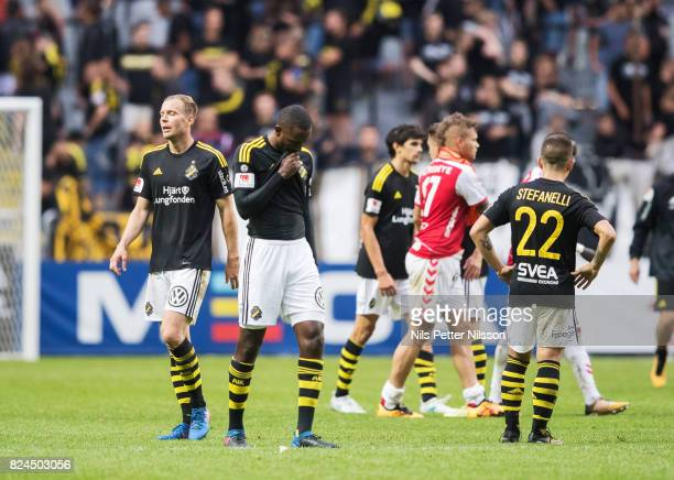Per Karlsson and Henok Goitom of AIK dejected after the Allsvenskan match between AIK and Kalmar FF at Friends arena on July 30 2017 in Solna Sweden