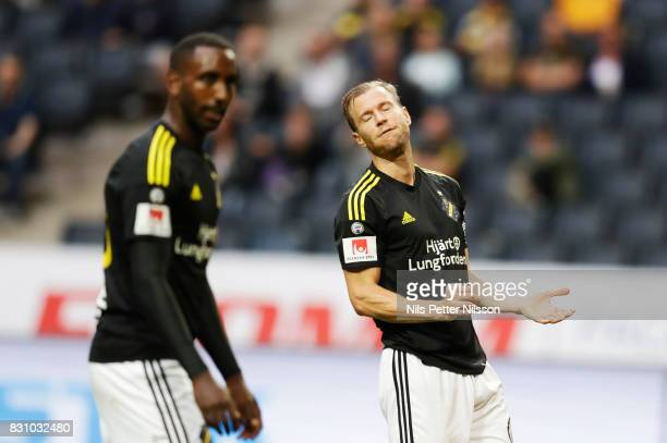 Per Karlsson of AIK dejected during the Allsvenskan match between AIK and Athletic FC Eskilstura at Friends arena on August 13 2017 in Solna Sweden