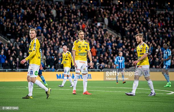 Per Karlsson Tobias Karlsson and Alexander Jakobsen of Falkenberg looks dejected during the Allsvenskan match between Djurgardens IF and Falkenbergs...