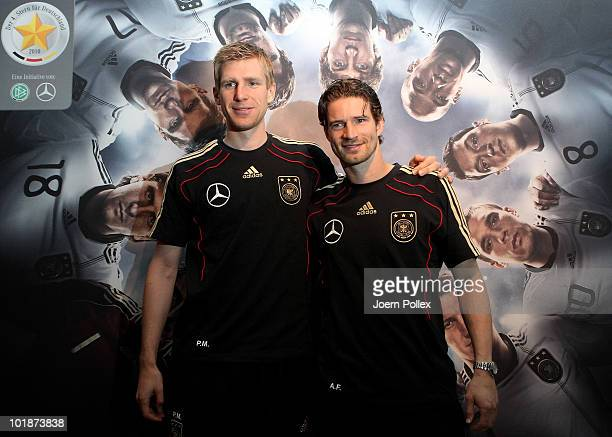 Per Mertesacker and Arne Friedrich of Germany pose during a press conference in the media center at Velmore Grande Hotel on June 8 2010 in Pretoria...