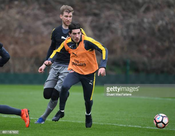 Per Mertesacker and Hector Bellerin of Arsenal during a training session at London Colney on March 10 2017 in St Albans England