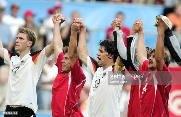 Per Mertesacker Bernd Schneider Michael Ballack Lukas Podolski and Sebastian Schweinsteiger celebrate winning 30 after the FIFA Confederations Cup...