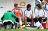 Per Mertesacker gets treated during a Germany training session at Stadium Tourrettes on May 28 2012 in Tourrettes Sur Loup France