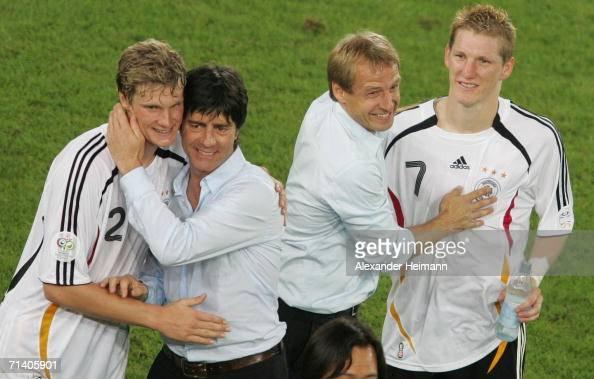 Per Mertesacker Joachim Loew Juergen Klinsmann and Sebastian Schweinsteiger celebrate the 30 victory of the FIFA World Cup Germany 2006 Third Place...