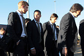 Per Mertesacker Lukas Podolski and Sami Khedira of the German team arrive at Johannesburg's OR Tambo International Airport with the new Airbus A380...